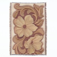 Beautiful Embroidery Flowers Throw Blanket