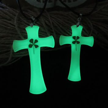 cross glowing couple necklace,His and Her cross Necklaces, glow Necklace Pendant, Matching couple necklace
