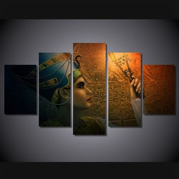 Unframed 5 Panels Modern Canvas Paintings Queens of Egypt Hanging Wall Decoration