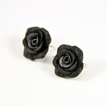 Black Roses earrings Polymer clay jewelry Great gift Handmade bijouterie Flower earrings