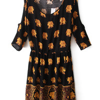 Black Off the Shoulder Elephant Print Pleated Dress - Sheinside.com