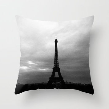 Eiffel Tower Black and White Throw Pillow by Kelsey Horne Photographs | Society6