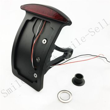 Motorcycle accessories BLACK side mount license plate Curved bracket tail light for HARLEY softail Custom Chopper