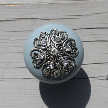 Ceramic Drawer Knobs in Blue / Grey with Metal Top and Crystals (CK23 C)