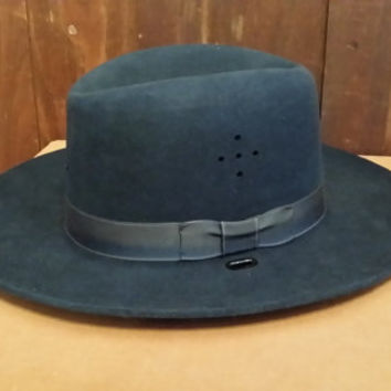Vintage Navy Felt Stratton Hats Police Uniform Hat Trooper Rider Style With Box
