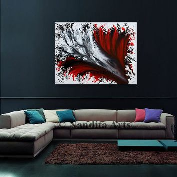 Sale Red Wall Art, Acrylic painting, Painting, Wall Decor, Wall hangings, Oil Painting, Large Modern art Decorative Arts original artwork