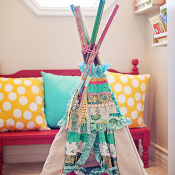 Beautiful gold, green, hint of coral children's doll teepee