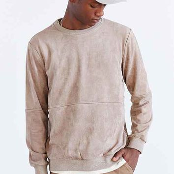 Shades Of Grey By Micah Cohen Ultrasuede Crew Neck Sweatshirt- Taupe
