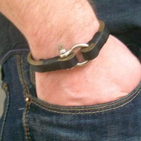 Black Leather Bracelet with Steel DRing Clasp by leathermix