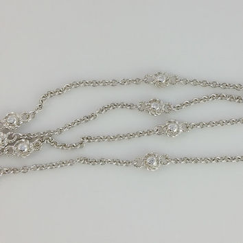 """Judith Ripka Necklace - Sterling Silver Diamonique Chain - 36"""" Station Necklace - Long Sterling CZ Accented Chain - Long Sterling Chain"""