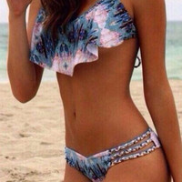 Peacock Feather Print Swimsuit