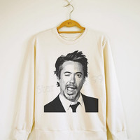 Robert Downey Jr TShirt Robert Downey TShirt Rock Sweater Sweatshirt Jumpers Long Sleeve Shirt Women Shirt Men Shirt Unisex Shirt Size S,M,L