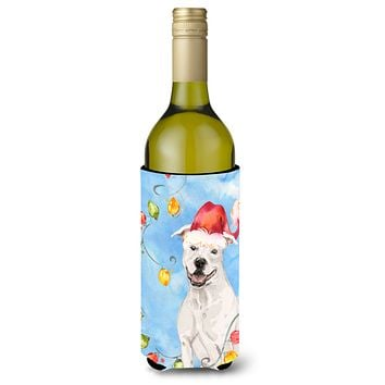 Christmas Lights White Staffie Bull Terrier Wine Bottle Beverage Insulator Hugger CK2503LITERK