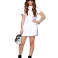 White High Neck Short Sleeve Pleated Mini Dress