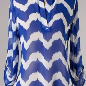 Blue Chevron Blouse