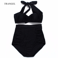 Trangel 2017 new Sexy Bikini Vintage Padded Swimwear Women High Waist Swimsuit Push up Bikini set wrinkle Halter Bathing Suit