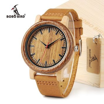BOBO BIRD M14 Vintage Unique Design Wooden Watch For Men With Genuine Leather Strap in Gift Box
