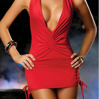 Red V-Neck Halter Dress