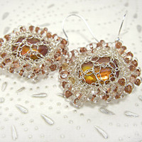 Wire Crochet Earrings, Sparkling Silver Wire Mech, Sunny seed beads, Copper Coin Pearl, Bridal Wedding Jewelry