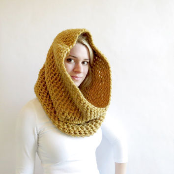 Gold Hood Scarf -  Oversized Infinity Scarf - Womens Crochet Cowl - Yellow Circle Scarf - Oversized Hood Scarf - Womens Fall Fashion