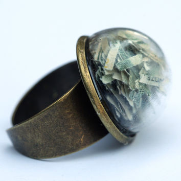 Large glass dome ring with shredded money