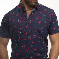 Navy Blue With Red Cherry Print Short Sleeve Shirt - Austin Size S