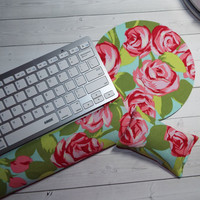 roses Mouse pad set - mouse wrist rest - keyboard rest  mouse pad set coworker gift Desk Accessories
