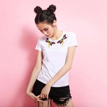 New    short sleeve shirt collar repair body shirt E0547 nail bead summer white butterfly render unlined upper garment T-Shirts