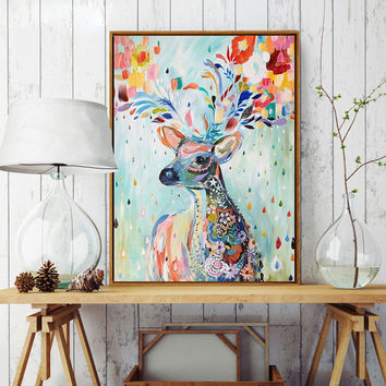 Hand-painted Watercolor Flower Deer A4 Art Print Poster Mural in Canvas Painting wall Pictures for Living Room Home Decor