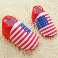 Baby Girls Boys Red White Stripes Crib Shoes Soft Sole Infants Shoes Prewalker NW