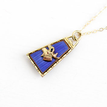 Vintage Yellow Gold Filled Loyal Order of Moose Fob Pendant - Art Deco 1920s Fraternal Cobalt Blue Guilloche Enamel LOOM Necklace Jewelry