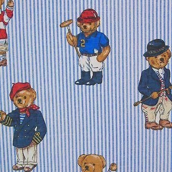 Ralph Lauren Polo Teddy Bear Blue Striped Queen Flat Sheet Vintage Bears Retired