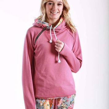 Mauve and Floral Double Hoodie