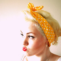 Yellow with White Polka Dot Print Wire Headband Retro Pin-Up Girl Rockabilly Vintage Inspired