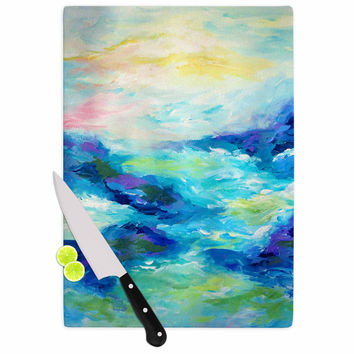 "Ebi Emporium ""Taken By The Undertow"" Green Blue Cutting Board"