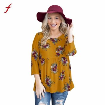 feitong Womens Summer Oversize Blouse Ladies Cotton Loose Three Quarter Sleeve Casual Boho Floral Print BLouse Tops Shirts 2018