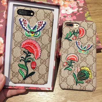 """Gucci"" Temperament Retro Flower Butterfly Embroidery iPhone6/6S Leather Hard Shell iPhone7 Plus Apple Phone Case"
