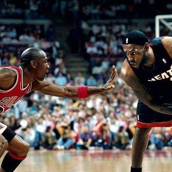 Michael Jordan MJ 23 VS LeBron James LBJ 23 Basketball art silk Poster