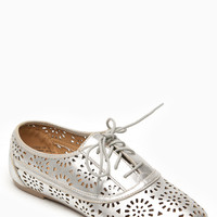 Bamboo Silver Dandelion Cut Out Flat Sneakers