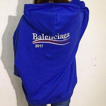 Balenciaga Fashion Women Men Casual Long Sleeve Hedging Pullover Sweater Hoodies Blue I12347-1