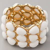 Kenneth Jay Lane White Cabochon & Crystal Hinged Cuff | SHOPBOP