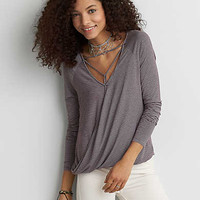 AEO Soft & Sexy Cross-Front T-Shirt , Burgundy