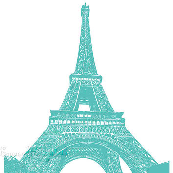 Tiffany Chandelier Poster Print Paris apartment decor Eiffel tower Giclee print Girls room decor Aqua Wall art Digital print 11x14 POSTER