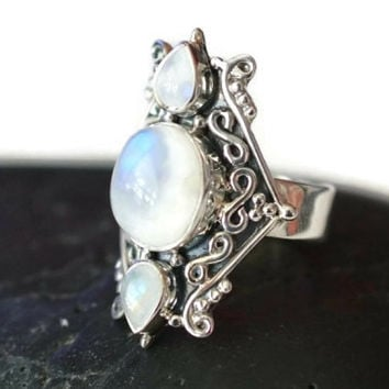 Rainbow Moonstone Large Silver Ring - Large 925 Rainbow Moonstone Ring - Rainbow Moonstone Filigree Ring - Moonstone Cocktail Ring