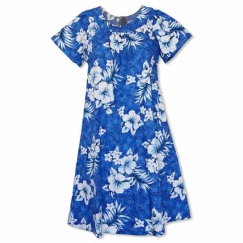 Flower Power Blue Cotton Hawaiian Muumuu Dress