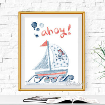 Pirate ship print Ahoy wall art Red and navy Nautical nursery decor Boy wall decor DOWNLOAD Watercolor Pirate boat printable 5x7 8x10 11x14