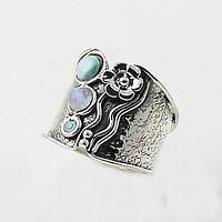 Larimar, Moonstone & Fire Opal Sterling Tuxedo Band Ring