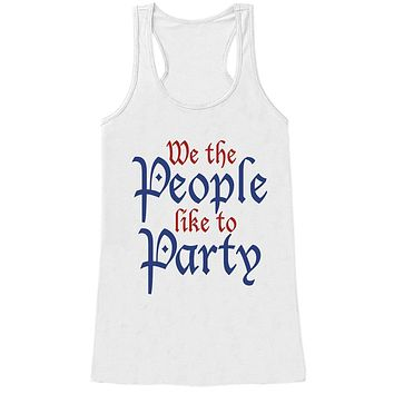 7 ate 9 Apparel Women's We The People Like To Party 4th of July White Tank Top