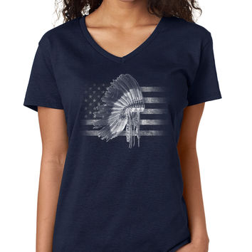 American Flag with Native Headdress V-Neck Tee