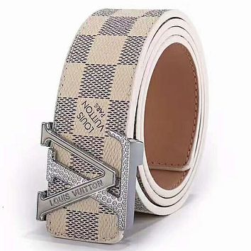 LV Louis Vuitton 2019 new classic monogram men and women models fashion simple wild smooth buckle belt White Check Belt